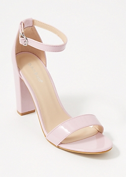 Lavender Single Strap Faux Leather Heels