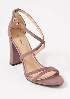 Purple Strappy Crisscross Block Heels