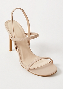 Nude Faux Leather Stiletto Heels