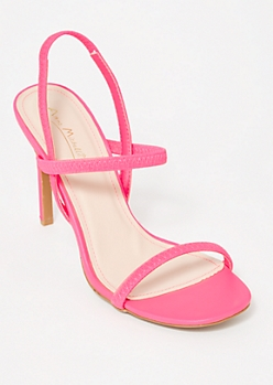 Neon Pink Faux Leather Stiletto Heels