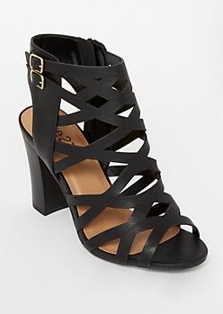 Black Cutout Peep Toe Stack Heels