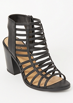Black Strappy Cutout Heels
