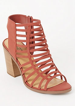 Orange Strappy Cutout Heels