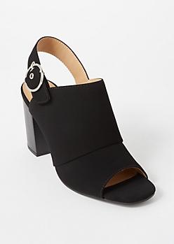 Black Faux Suede Slingback Buckle Heels