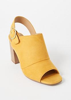 Mustard Faux Suede Slingback Buckle Heels