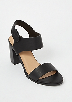 Black Single Strap Faux Leather Stack Heels
