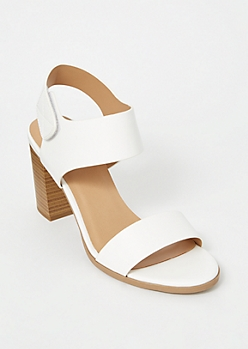 White Single Strap Faux Leather Stack Heels