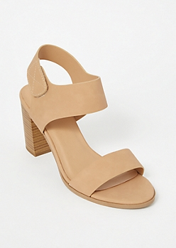 Beige Single Strap Faux Leather Stack Heels
