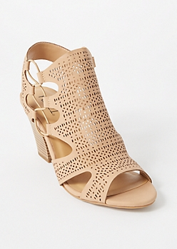Taupe Faux Leather Eyelet Cutout Heels