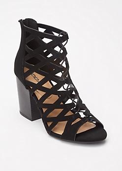 Black Crisscross Cutout Heels