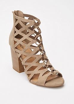 Taupe Crisscross Cutout Heels