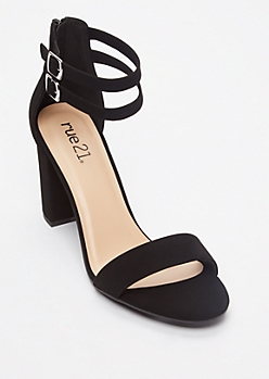 Black Double Strap Block Heels