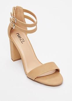 Nude Double Strap Block Heels