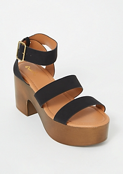 Black Chunky Wooden Platform Heels