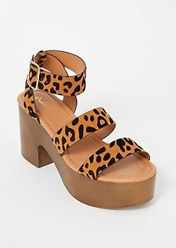 Leopard Print Chunky Wooden Platform Heels