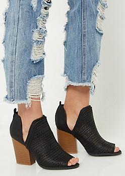 Black Perforated Peep Toe Heels