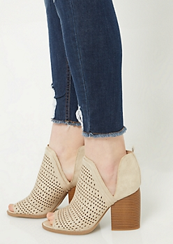 Stone Perforated Peep Toe Heels