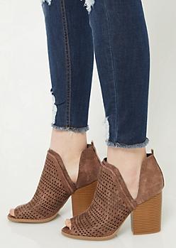 Copper Perforated Peep Toe Heels