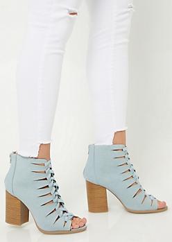Denim Lace Up Block Heel Booties