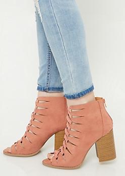 Pink Lace Up Block Heel Booties
