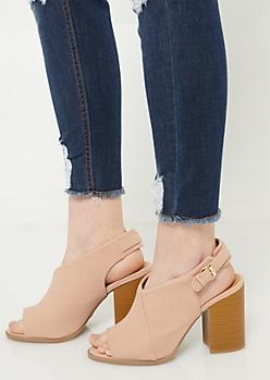 Dusty Pink Scuba Peep Toe Slingback Heels