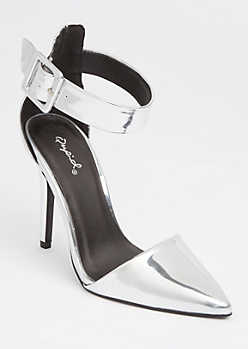 Silver Metallic Pointed Toe Stilettos