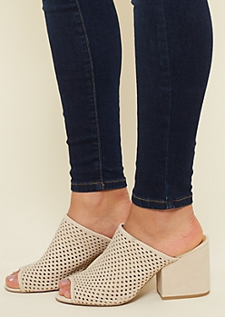 Sand Perforated Mule Heels