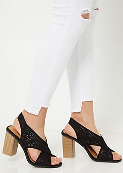 Black Perforated Peep Toe Slingback Heels