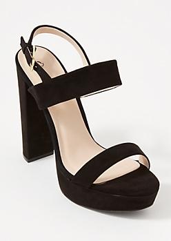 Black Matte Platform Two Strap Heels