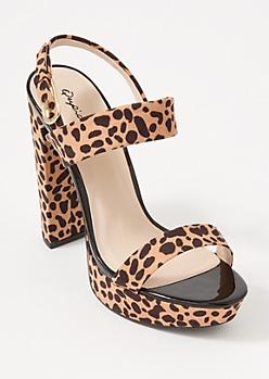 Leopard Print Platform Two Strap Heels