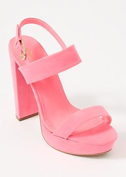 Neon Pink Platform Two Strap Heels