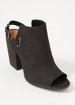 Black Peep Toe Buckle Strap Booties