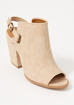 Taupe Peep Toe Buckle Strap Booties