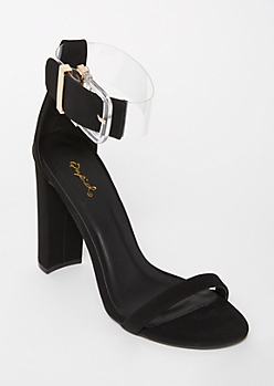 Black Clear Ankle Strap Heels