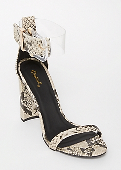 Snakeskin Print Clear Ankle Strap Heels