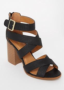 Black Snakeskin Crisscross Strap Stack Heels