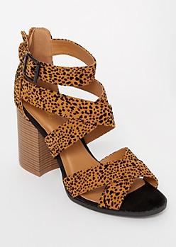 Leopard Print Crisscross Strap Stack Heels