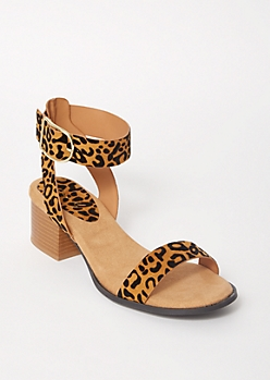 Cheetah Print Ankle Buckle Heeled Sandals