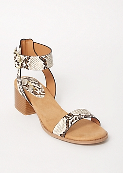 Snakeskin Print Ankle Buckle Heeled Sandals