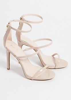 Nude Glossy Triple Strap Stiletto Heels