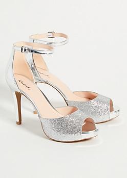 Silver Glitter Peep Toe Stiletto Heels