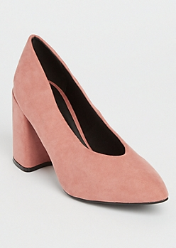 Pink Faux Suede Chunky Pumps