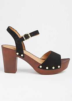 Black Studded Wooden Block Heels