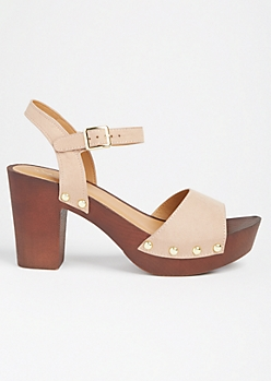Taupe Studded Wooden Block Heels