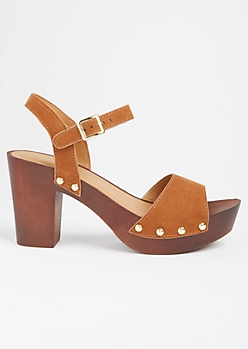 Cognac Studded Wooden Block Heels