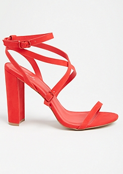 Red Ankle Wrap Buckled Heels