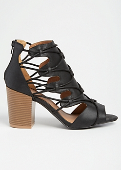 Black Caged Cutout Block Heels