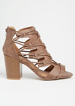 Brown Caged Cutout Block Heels