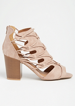Taupe Caged Cutout Block Heels