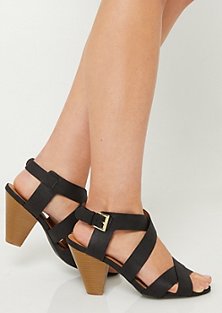 Black Crossing Strap Cone Heels